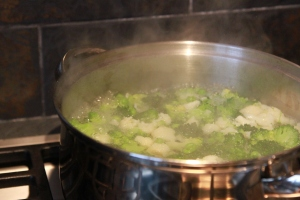 Have the blanching veg next to your wok, ready to add.